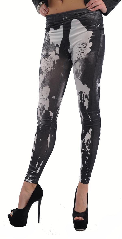 sexy leggings jeans fleck muster stretch hose schwarz weiss xs s m 34 36 38 neu ebay. Black Bedroom Furniture Sets. Home Design Ideas