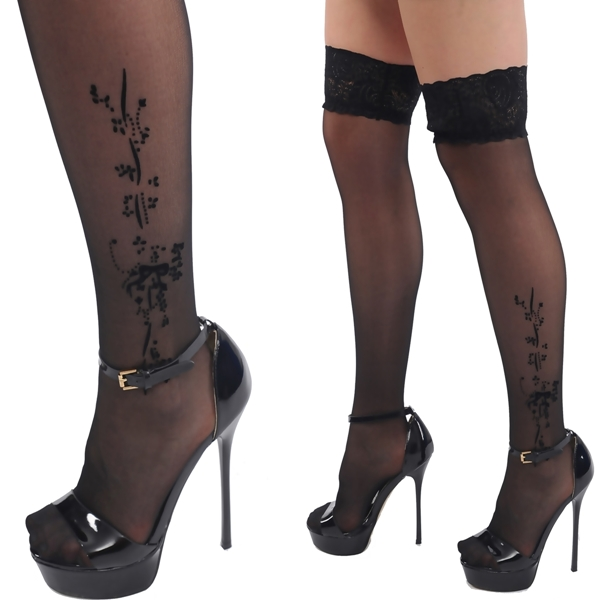 sexy halterlose str mpfe stockings overknee tattoo schwarz xs s m 34 36 38 neu ebay. Black Bedroom Furniture Sets. Home Design Ideas